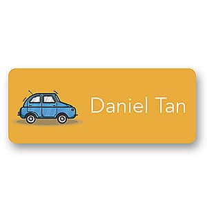 Medium Name Label - Blue Car