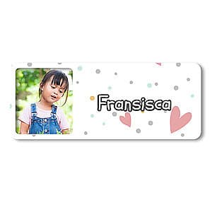 Medium Photo Name Label - Small Hearts
