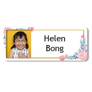 Medium Photo Name Label - Spring Flowers