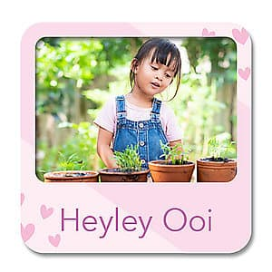 Square Photo Name Label - Pink Hearts