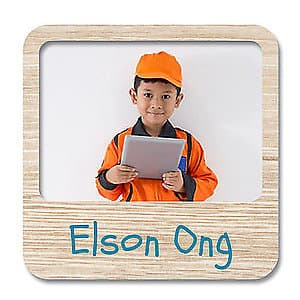 Square Photo Name Label - Wood Design