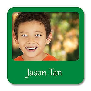 Square Photo Name Label - Green