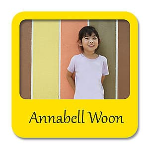Square Photo Name Label - Yellow