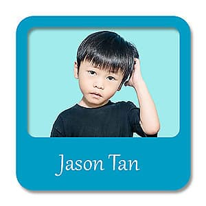 Square Photo Name Label - Blue
