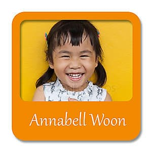 Square Photo Name Label - Orange