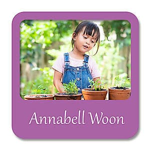 Square Photo Name Label - Purple