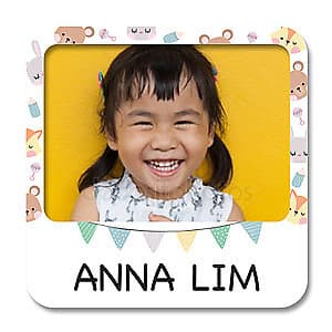 Square Photo Name Label - Animal Party