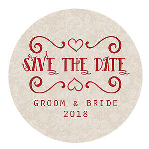 Round Sticker Label - Save The Date