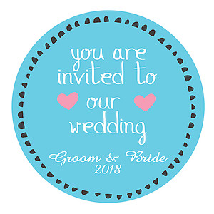 Round Sticker Label - Wedding Invite