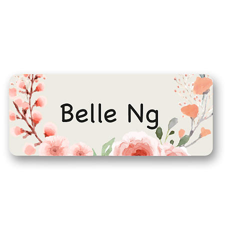 Medium Name Label - Flowers