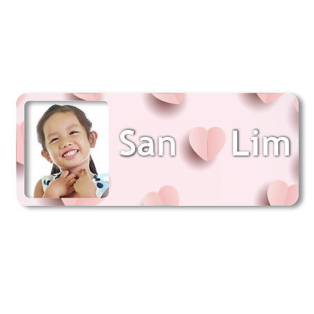 Medium Photo Name Label - Pink Hearts