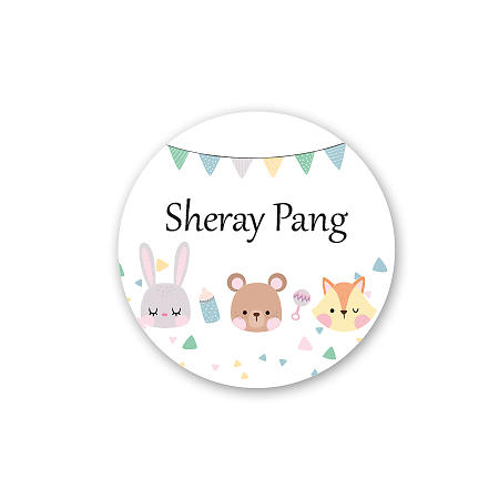 Round Name Label - Animal Party