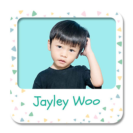 Square Photo Name Label - Square Confetti