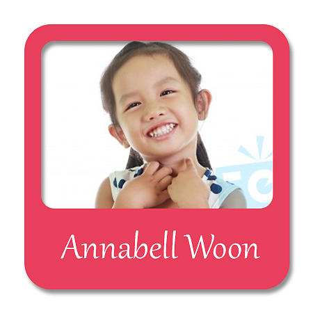Square Photo Name Label - Red